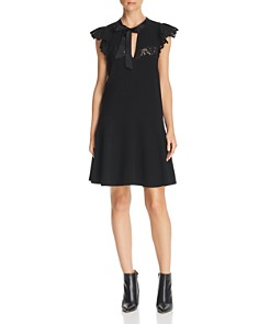 Rebecca Taylor - Tie-Neck Lace-Trimmed Crepe Dress